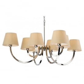 Fairmont Large 8 Light Chandelier in Polished Stainless Steel with Cream Shades