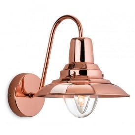 Fisherman Single Light Copper Finished Wall Lantern with a Clear Diffuser