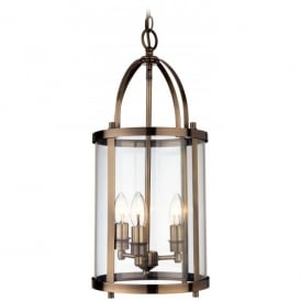 N Imperial 3 Light Ceiling Pendant In Antique Brass Finish