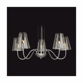 Jasmine Chrome 5 Light Fitting With Clear Glass Shades