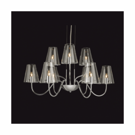 Jasmine Chrome 9 Light Fitting With Clear Glass Shades