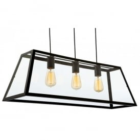 Kew 3 Light Ceiling Pendant in Black Finish with Clear Glass