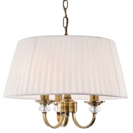 Langham 3 Light Pendant in Antique Brass with Pleated Cream Shade
