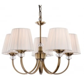 Langham 5 Light Multi-Arm Fitting in Antique Brass with Pleated Cream Shades