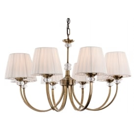 Langham 8 Light Multi-Arm Fitting in Antique Brass with Pleated Cream Shades