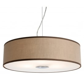 Madison 3 Light Ceiling Pendant With a Taupe Fabric Shade And Frosted Acrylic Diffuser