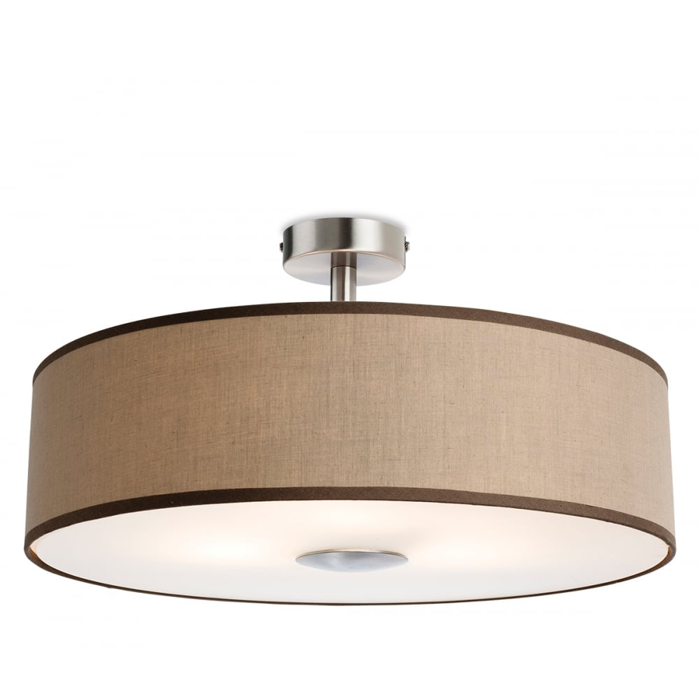 Madison 3 Light Semi Flush Ceiling Fitting With a Taupe Fabric Shade And  Frosted Acrylic Diffuser
