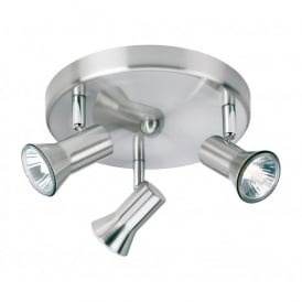 Magnum 3 Light Ceiling Flush Fitting in Brushed Steel Finish