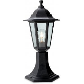 Malmo Single Light Outdoor Pedestal Light In Black Finish With Clear Glass Panels