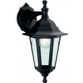 Malmo Single Light Outdoor Wall Lantern In Black Finish With Clear Glass Panels