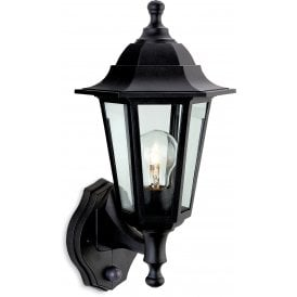 Malmo Single Light Outdoor Wall Lantern In Black Finish With Clear Glass Panels With PIR Sensor