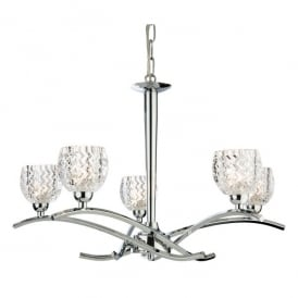 Maple 5 Light Upward Ceiling Fitting in Polished Chrome with Clear Moulded Glass