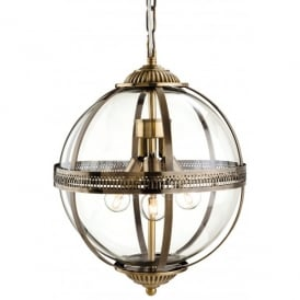Mayfair 3 Light Ceiling Pendant in Antique Brass Finish with Clear Glass
