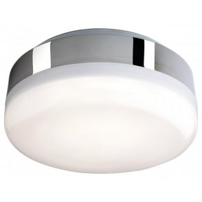 Mini Hydro 32 White LED Light Flush Ceiling Fitting In Chrome Finish With Polycarbonate Diffuser