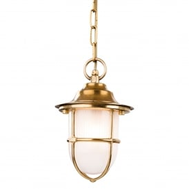 Nautic Single Light Outdoor Pendant In Brass Finish With Frosted Glass Shade
