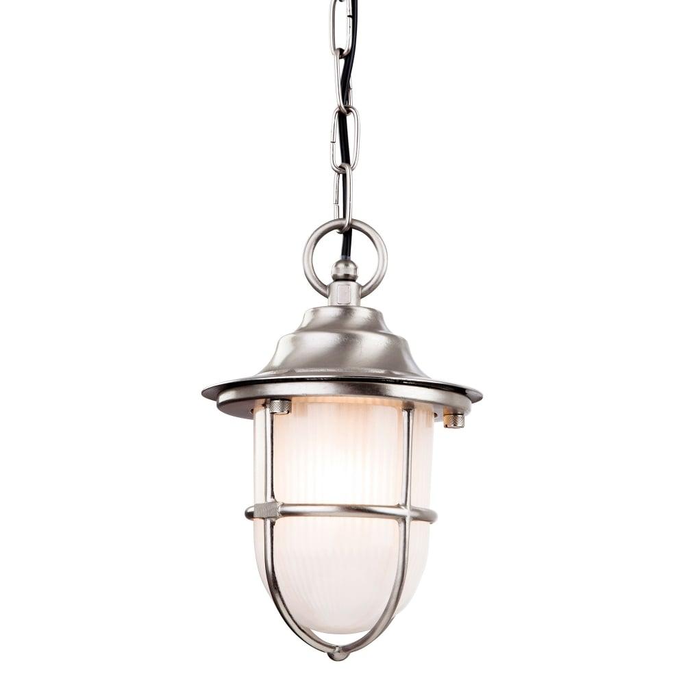 Outdoor pendant lighting nickel : Firstlight nautic single light outdoor pendant in nickel