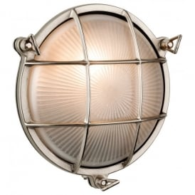 Nautic Single Outdoor Wall Light in Nickel Finish with Frosted Glass Circular