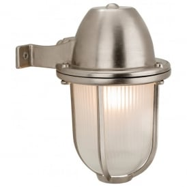 Nautic Single Outdoor Wall Light in Nickel Finish with Frosted Glass Shade