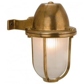 Nautic Single Outdoor Wall Light in Solid Brass Finish with Frosted Glass Shade