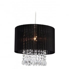 Organza Easy Fit Ceiling Light Pendant Shade In Black And Acrylic Finish