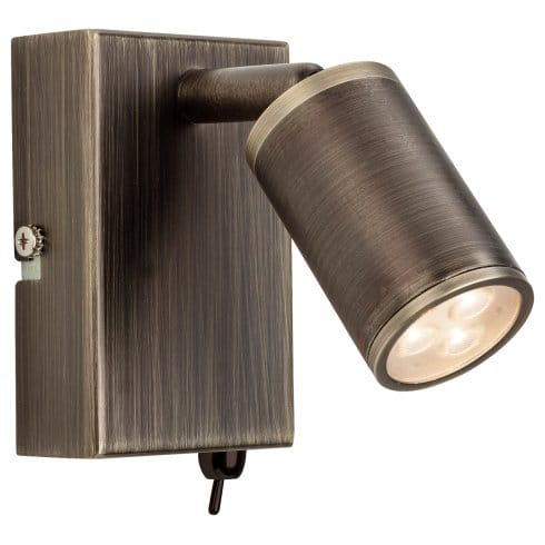 Switched Plaster Wall Lights : Firstlight Orion 3 Light LED Integrated Switched Wall Lamp in Bronze Finish - Lighting Type from ...
