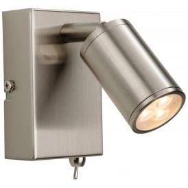 Orion 3 Light LED Integrated Switched Wall Lamp in Brushed Steel Finish