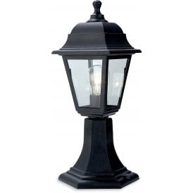 Oslo Single Light Outdoor Pedestal Light In Black Finish With Clear Glass Panels