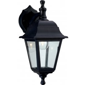 Oslo Single Light Outdoor Wall Lantern In Black Finish With Clear Glass Panels