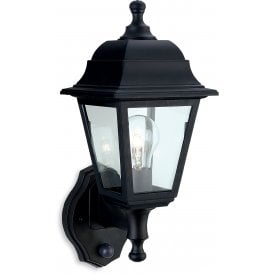 Oslo Single Light Outdoor Wall Lantern In Black Finish With Clear Glass Panels With PIR Sensor