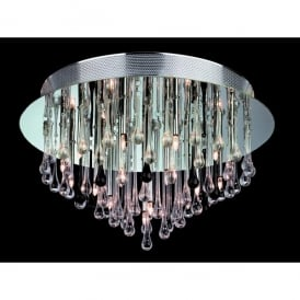 Perla 20 Light Semi Flush Ceiling Fitting in Chrome with Clear & Black Glass