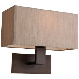 Prince Single Light Wall Lamp Fitting in Bronze with Oyster Shade