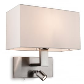 Raffles Single Light Wall Fitting In Brushed Steel Finish With Cream Shade And Adjustable Reading Light