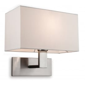 Raffles Single Light Wall Fitting In Brushed Steel Finish With Cream Shade