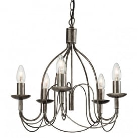 Regency 5 Light Chandelier in an Antique Silver Finish