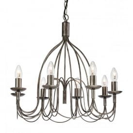 Regency Large 8 Light Chandelier in an Antique Silver Finish