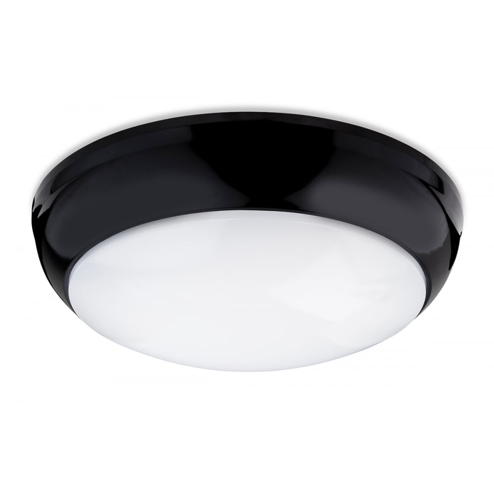 Regis single light led flush bathroom ceiling fitting with black trim and white shade
