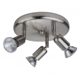Runner 3 Light Flush Ceiling Fitting in Brushed Steel Finish