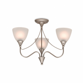 Santana 3 Light Semi Flush Ceiling Fitting In Satin Steel Finish Wth Acid Glass Shades