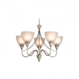Santana 5 Light Ceiling Pendant In Satin Steel Finish Wth Acid Glass Shades