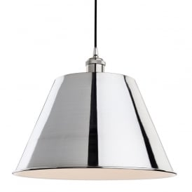 Savoy Single Light Ceiling Pendant in Brushed Chrome Finish