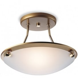 Firstlight Single Light Semi Flush Ceiling Fitting in Satin Brass Finish