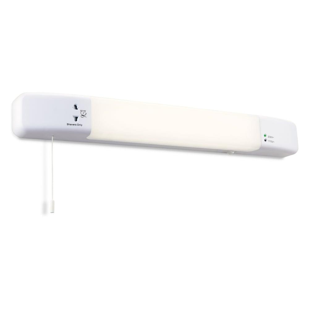 Shaver In Led Bathroom White Slimline Finish Built Wall Light Firstlight With Socket EH29ID