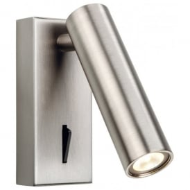 Solo Single Integrated LED Switched Wall Light in Brushed Nickel Finish Cylindrical