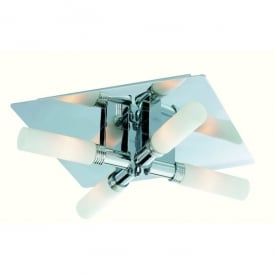 Spa 4 Light Ceiling Light in Chrome Finish with Opal Glass