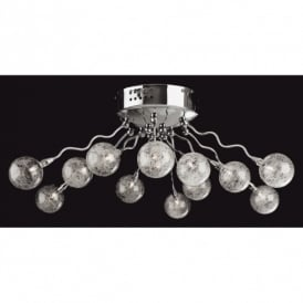 Twister 12 Light Halogen Semi-Flush Ceiling Fitting in Polished Chrome Finish