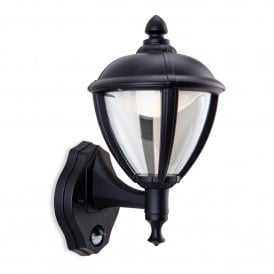 Unite LED Outdoor Wall Lantern In Black Finish With PIR Sensor