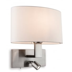 Webster 2 Light Wall Fitting In Brushed Steel Finish With Cream Shade And Adjustable LED Reading Light