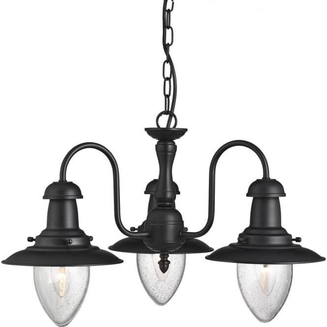 Searchlight Lighting Fisherman 3 Light Ceiling Pendant In Black Finish Type Uk