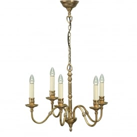 Fitzroy 5 Light Solid Brass Ceiling Pendant In A Mellow Brass Finish