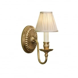 Fitzroy Single Light Solid Brass Wall Fitting In A Mellow Brass Finish With Pleated Beige Shade